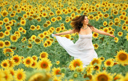Happy girl between sunflower Stock Photos
