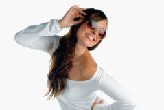 Happy girl with sunglasses Royalty Free Stock Images