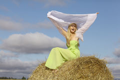 Happy girl in sunny autumn field Stock Images