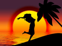 Happy girl by sunset. Vectored floating girl vector illustration