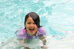 Happy girl swimming Stock Photos