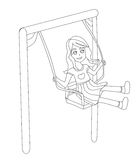 Happy girl on a swing. Royalty Free Stock Photography