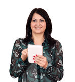 Happy girl with tablet pc on white Stock Photography