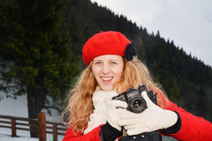 Happy girl taking pictures Royalty Free Stock Image