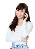 Happy girl talk to phone Royalty Free Stock Images