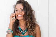 Happy Girl Talking On Cellphone Stock Image