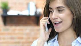 Happy Girl Talking on Phone, Negotiation Royalty Free Stock Photos