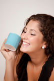 Happy girl with tea or coffee Royalty Free Stock Photo