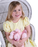 Happy girl with teddy bear Royalty Free Stock Photos