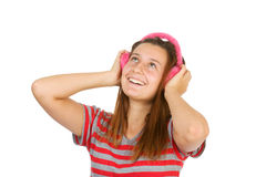 Happy girl teen in pink headphones Royalty Free Stock Photo