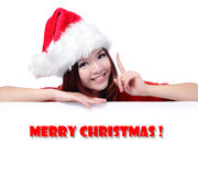 Happy Girl with Text Merry Christ stock photo