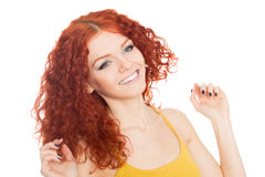 Happy girl with their hands up Stock Photos