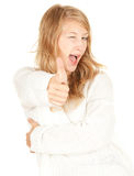 Happy girl thumb up Stock Photo