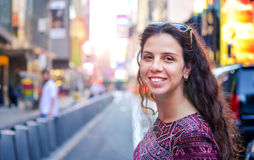 Happy girl at Times Square New York, USA Stock Image