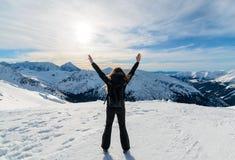 Happy girl on top of a Tatras mountain. Poland Stock Photo