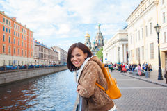 Happy girl tourist in Saint Petersburg Stock Images