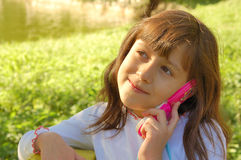 Happy girl with toy phone Royalty Free Stock Photo