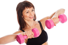 Happy Girl Training With Weights Royalty Free Stock Photo