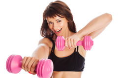 Happy Girl Training With Weights Royalty Free Stock Images