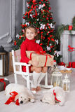 Happy girl with two puppies Golden Retriever on a background of Christmas tree. Happy girl 6 years old with gray-green eyes,brunette hair braided in two pigtails Stock Photos