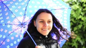 Happy girl with umbrella Royalty Free Stock Photos