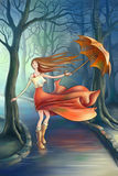 Happy girl with umbrella in the park stock illustration