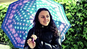 Happy girl with umbrella Stock Photography