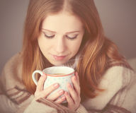 Happy girl is   under a blanket and  cup of coffee on winter morning at home Royalty Free Stock Photos