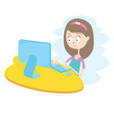 Happy Girl Using Computer. Stock Photo