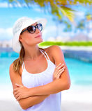 Happy girl on vacation Royalty Free Stock Photos