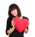 Happy girl with valentine heart Royalty Free Stock Photos