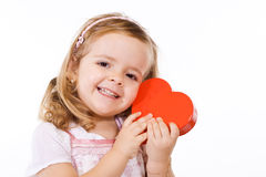 Happy girl with valentines heart Royalty Free Stock Photo