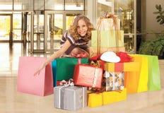 Happy girl valentines shopping Stock Image