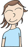 Happy girl. Vector cartoon illustration happy smiling girl in blue shirt Stock Photo
