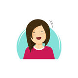 Happy girl vector illustration, flat cartoon smiling woman, young female person character in happiness of fun isolated Royalty Free Stock Photo