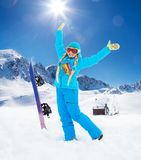 Happy girl and vinter activity Royalty Free Stock Image