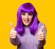 Happy girl with violet hair Royalty Free Stock Photo