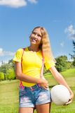 Happy girl with volleyball ball Royalty Free Stock Photos