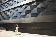 girl walking around the city with ice cream stock photos