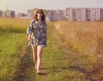 Happy girl walking Stock Photo