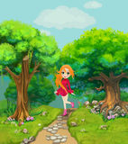 Happy girl walking on a path through the wood. Illustration vector illustration