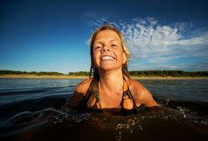 Happy girl  in the water Royalty Free Stock Photo