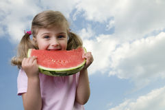 Happy girl with watermelon Stock Photo