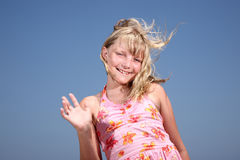 happy girl waving Hello! Stock Photos