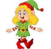 Happy girl wearing elf costume Stock Photos
