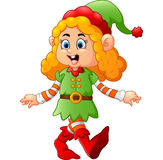 Happy girl wearing elf costume Royalty Free Stock Images