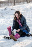 Happy girl wearing ice skates Royalty Free Stock Photography