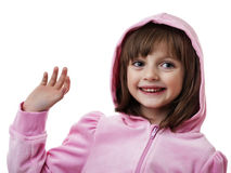 Happy girl wearing a pink jacket Royalty Free Stock Images