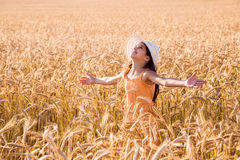 Happy girl on wheat field Stock Images