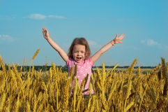 Happy girl in wheat field Royalty Free Stock Image